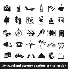 30 travel and accomodation icon collection vector image