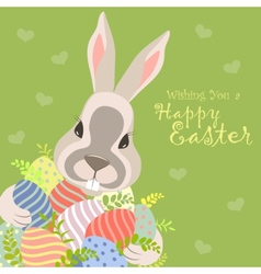 Easter bunny and easter eggs vector image