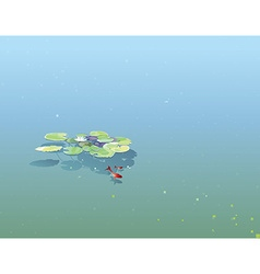 Water lily pads floating in pond vector
