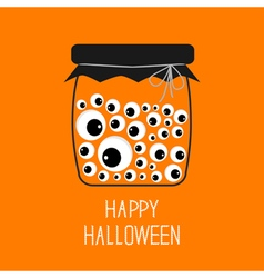 Glass bottle jar with eyeballs halloween card vector