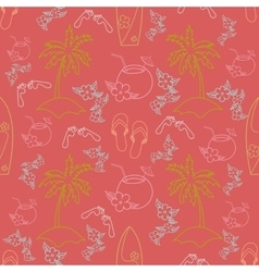 Hawaii cocktail seamless pattern beach red color vector