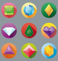 Flat design gem icon collection vector