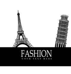 Fashion with paris and pisa in the background vector