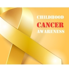 Childhood cancer awareness gold ribbon background vector