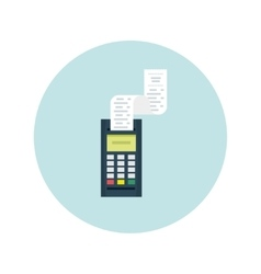 Pos terminal with printed check modern flat vector