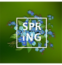 Spring background with blue flowers vector