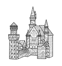 Medieval castle coloring book for adults vector
