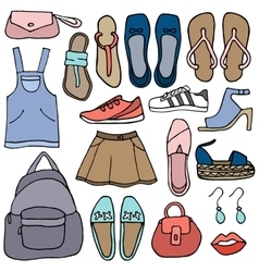 Clothes and shoes doodle vector