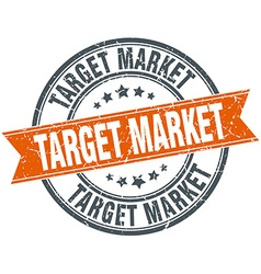 Target market round orange grungy vintage isolated vector