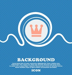 King crown sign icon blue and white abstract vector