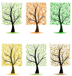 abstract art trees collection on white background vector image vector image