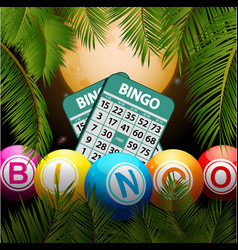 Bingo balls and cards over moon and palm trees vector