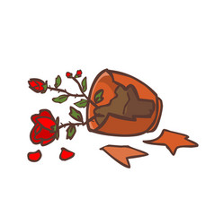 Broken red rose pot on the ground vector