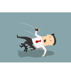 Businessman in an office chair falls backwards vector