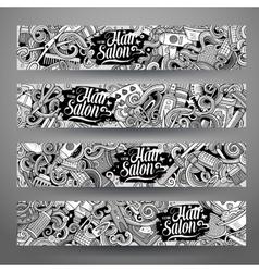 Cartoon doodles hair salon banners vector