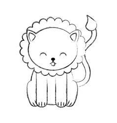 Cute sketch draw lion cartoon vector