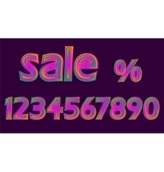 Disco Neon Pink Glowing Sale Numbers Set Discount vector image vector image