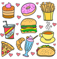 Food and drink of doodle set vector