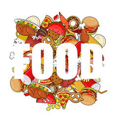 Food doodle many feed pile sign of meat pizza and vector