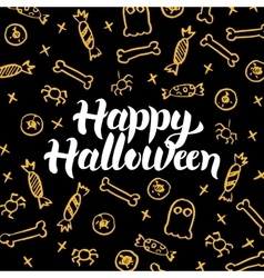 Happy halloween gold black postcard vector