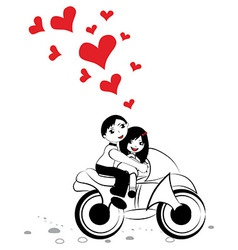 Happy man and woman in love on motorcycle vector image vector image