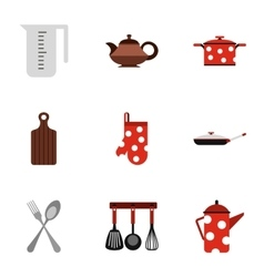 Kitchen utensils icons set flat style vector