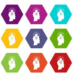light bulb idea icon set color hexahedron vector image vector image