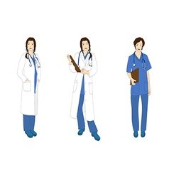 Medical staff woman full body asian color vector