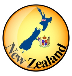 Orange button with the image maps of new zealand vector