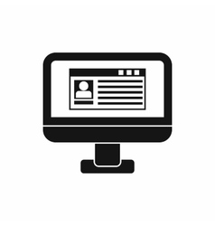 Profile information on monitor icon simple style vector image