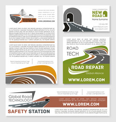 Safety road construction service posters vector