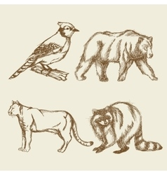set animals vintage doodle style vector image