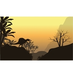 Silhouette of one spinosaurus in hills vector