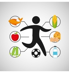 Sport man soccer nutrition health vector