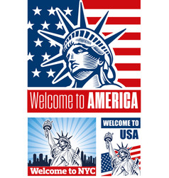 Statue of liberty usa flag nyc vector