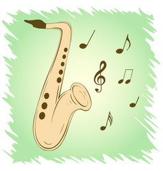 stylish saxophone on green background vector image