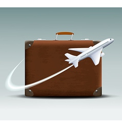 White plane flies around the brown suitcase vector