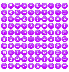 100 sailing vessel icons set purple vector