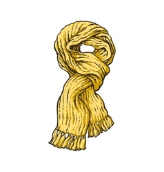Bright yellow slip knotted winter knitted scarf vector