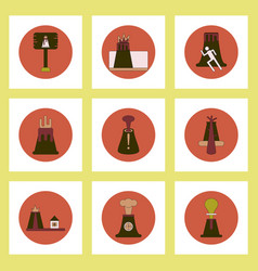 collection of icons in flat style volcano vector image
