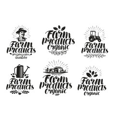 Farm products label set farming agriculture vector