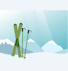 mountain landscape with red skiing equipment in vector image