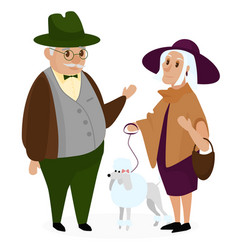 Old peple couple with a dog poodle happy vector