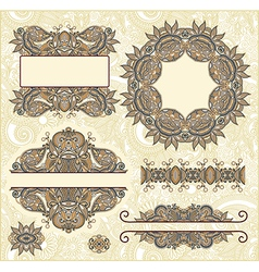 Set of vintage floral frame element for design vector