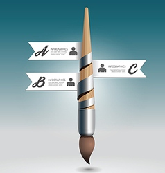 Abstract 3d paint brush infographic design minimal vector