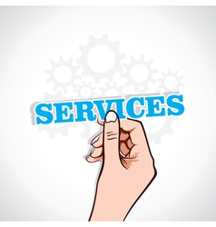 Services sticker in hand vector