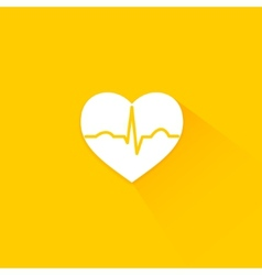 Yellow flat long shadow cardiology icon vector