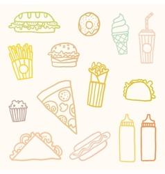 Outline astfood cartoon set vector image