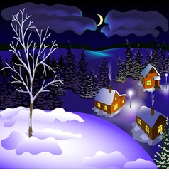 View of landscape of winter town at the night from vector