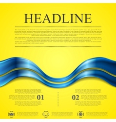 Abstract contrast yellow blue wavy background vector